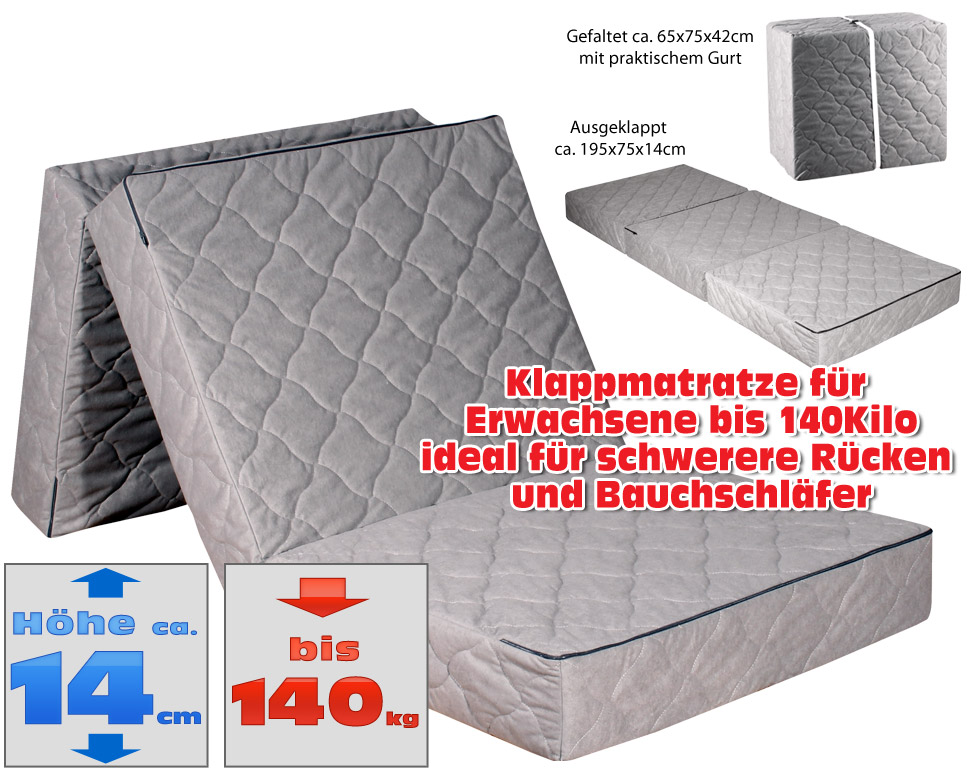 gigapur luxus beinhart klappmatratze f r erwachsene bis 140kilo ebay. Black Bedroom Furniture Sets. Home Design Ideas