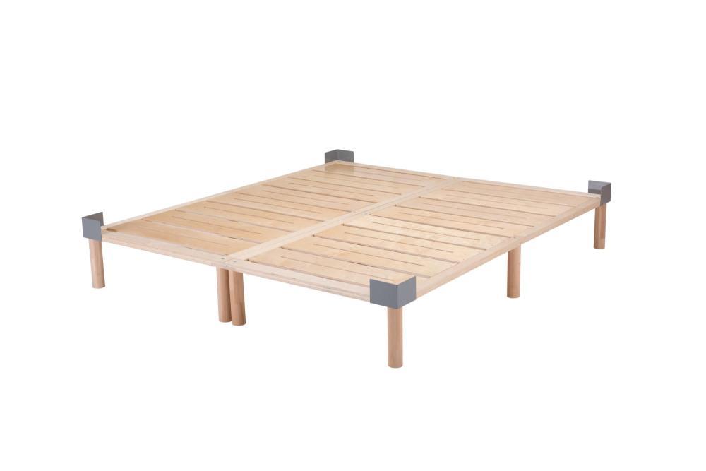 Gigapur G1 mit 4 Matratzenhaltern | Lattenrost und Bettgestell | Birke Natur Schicht-Holz | Bettrahmen blastbar bis 195 kg