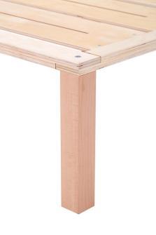 Gigapur G1 Komforthöhe | Doppelbett | Lattenrost und Bettgestell | Birke Natur Schicht-Holz | Bettrahmen belastbar bis 195 kg - 34 cm hohe Füsse