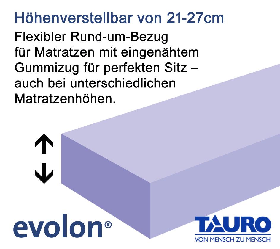 TAURO 28923 FLEX Matratzenbezug, rundum 80 x 200 cm, Encasing Milbenkotdicht Höhenverstellbar 21-27 cm, Milbenschutz für Hausstauballergiker Jetzt neu: TÜV zertifiziert!